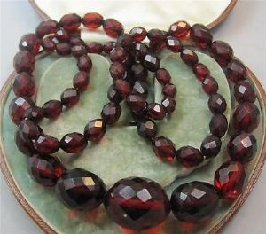 Superb long string art deco faceted cherry amber beads necklace 63 grams